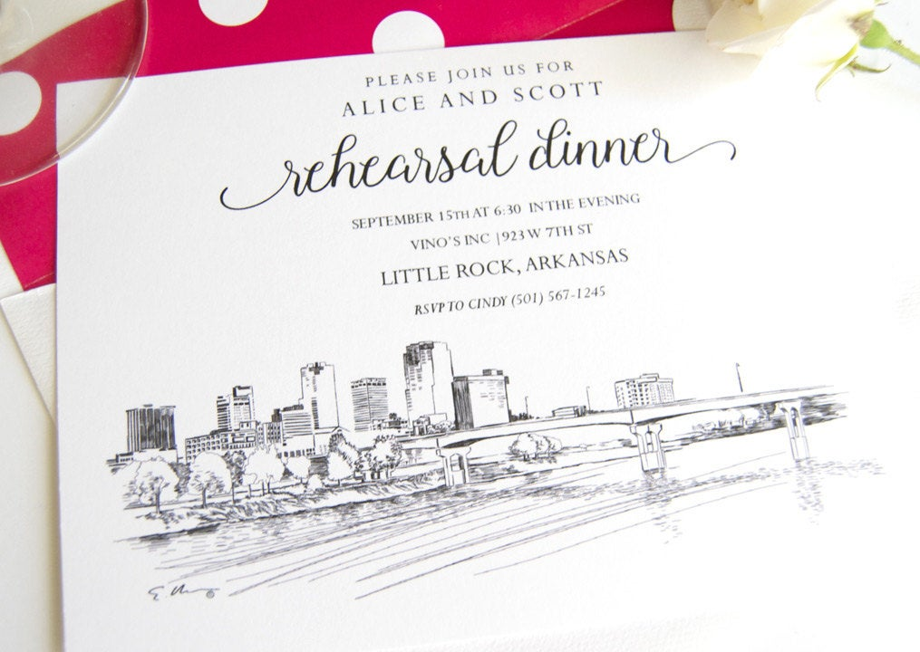 Little Rock, Arkansas Skyline Hand Drawn Rehearsal Dinner Invitations (set of 25 cards)