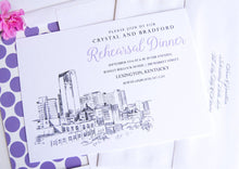 Load image into Gallery viewer, Lexington, KY Skyline Rehearsal Dinner Invitations (set of 25 cards)