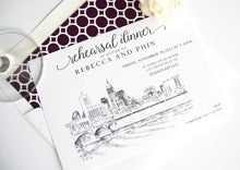 Load image into Gallery viewer, Indianapolis Skyline Rehearsal Dinner Invitations (set of 25 cards)