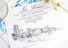 Load image into Gallery viewer, Hawaii Destination Weddings Skyline Rehearsal Dinner Invitations (set of 25 cards)