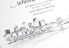 Load image into Gallery viewer, Little Rock, Arkansas Skyline Hand Drawn Rehearsal Dinner Invitations (set of 25 cards)