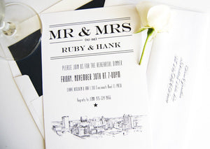 El Paso, Texas Skyline Rehearsal Dinner Invitations (set of 25 cards)