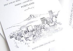 Portland Skyline Hand Drawn Rehearsal Dinner Invitations (set of 25 cards)