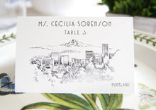 Load image into Gallery viewer, Portland Skyline Folded Place Cards (Set of 25 Cards)