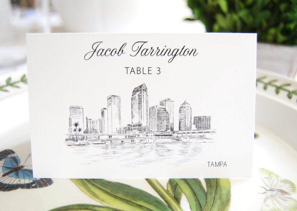 Tampa Skyline Folded Place Cards (Set of 25 Cards)