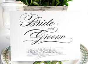 Skyline Bride and Groom Sign