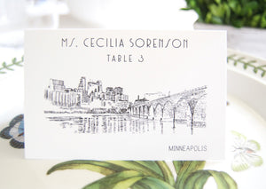 Minneapolis Skyline Folded Place Cards (Set of 25 Cards)