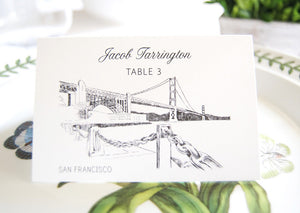 San Francisco Skyline Blank Folded Place Cards (Set of 25 Cards)