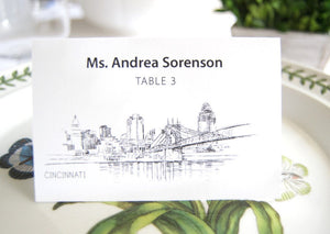 Cincinnati Skyline Folded Place Cards (Set of 25 Cards)