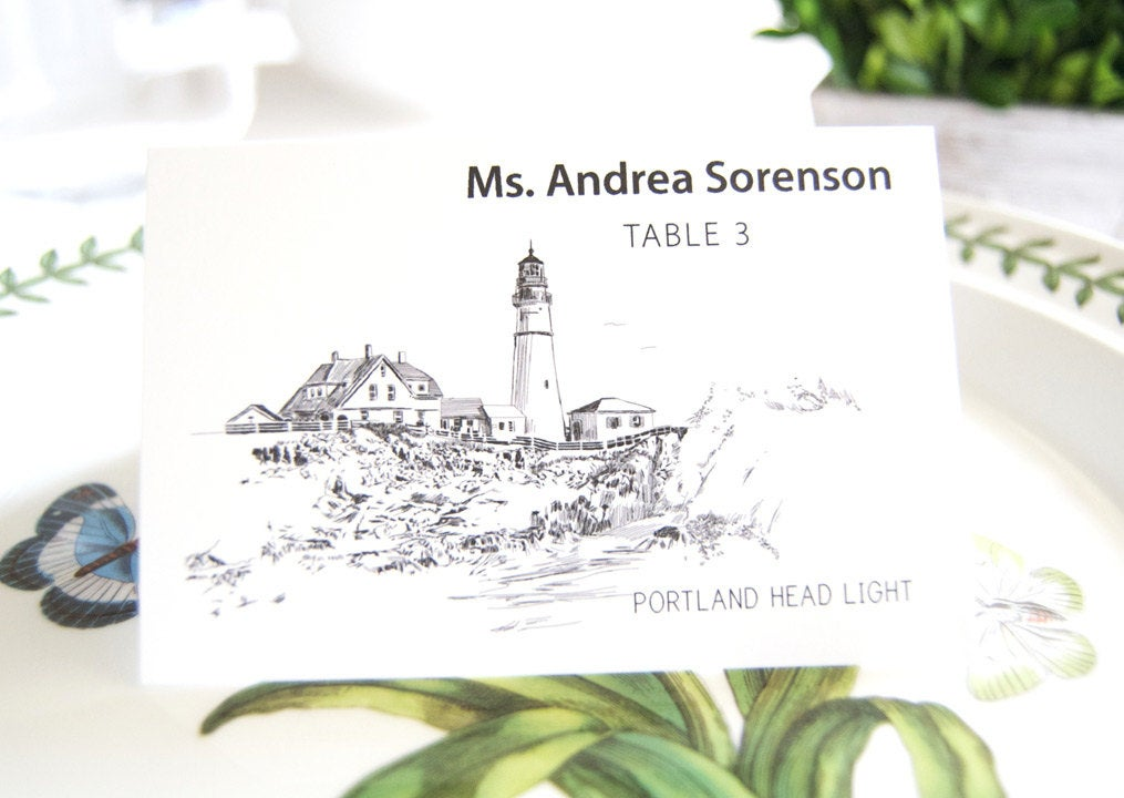 Portland Head Light House Skyline Blank Folded Place Cards (Set of 25 Cards)