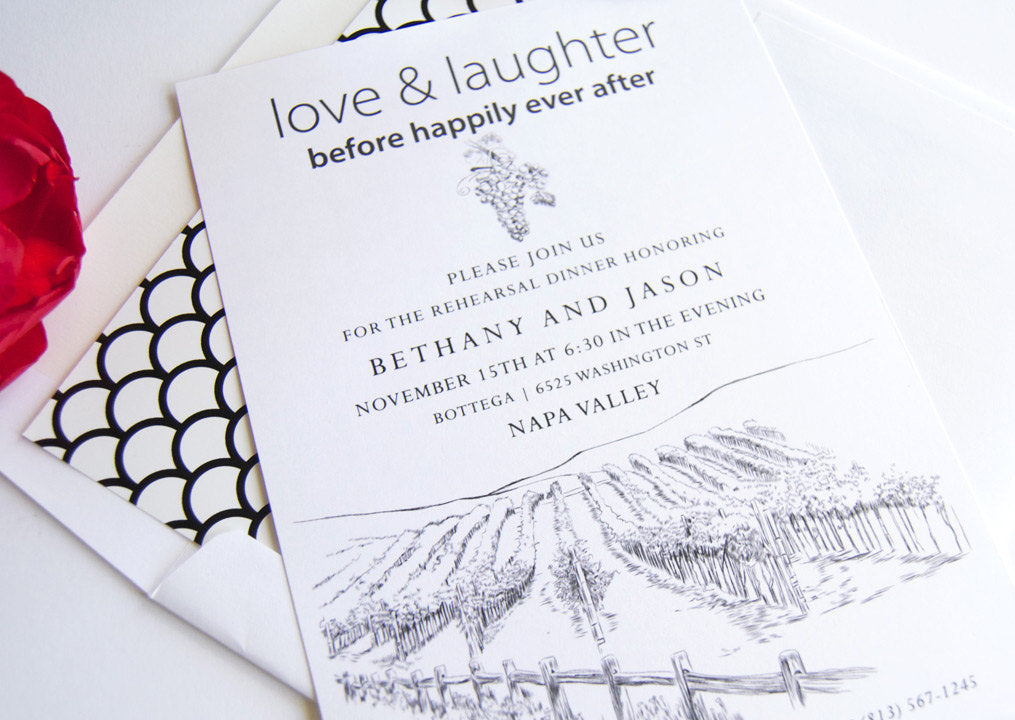Napa Valley Skyline Weddings Rehearsal Dinner Invitations (set of 25 cards)