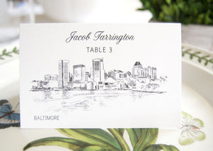 Baltimore Skyline Folded Place Cards (Set of 25 Cards)