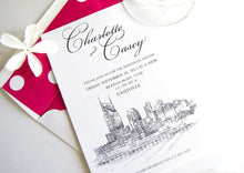 Load image into Gallery viewer, Nashville Waterfront View Skyline Weddings Rehearsal Dinner Invitations (set of 25 cards)
