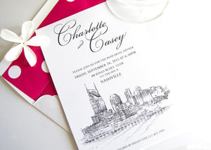 Nashville Waterfront View Skyline Weddings Rehearsal Dinner Invitations (set of 25 cards)