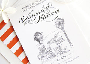 O'Donnell House Palm Springs Skyline Hand Drawn Save the Date Cards (set of 25 cards)