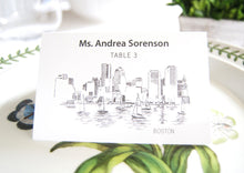 Load image into Gallery viewer, Boston Skyline Place Cards Personalized with Guests Names (Sold in sets of 25 Cards)