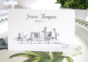 Miami Skyline Place Cards Personalized with Guests Names (Sold in sets of 25 Cards)