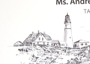 Portlandhead Light House Skyline Place Cards Personalized with Guests Names (Sold in sets of 25 Cards)