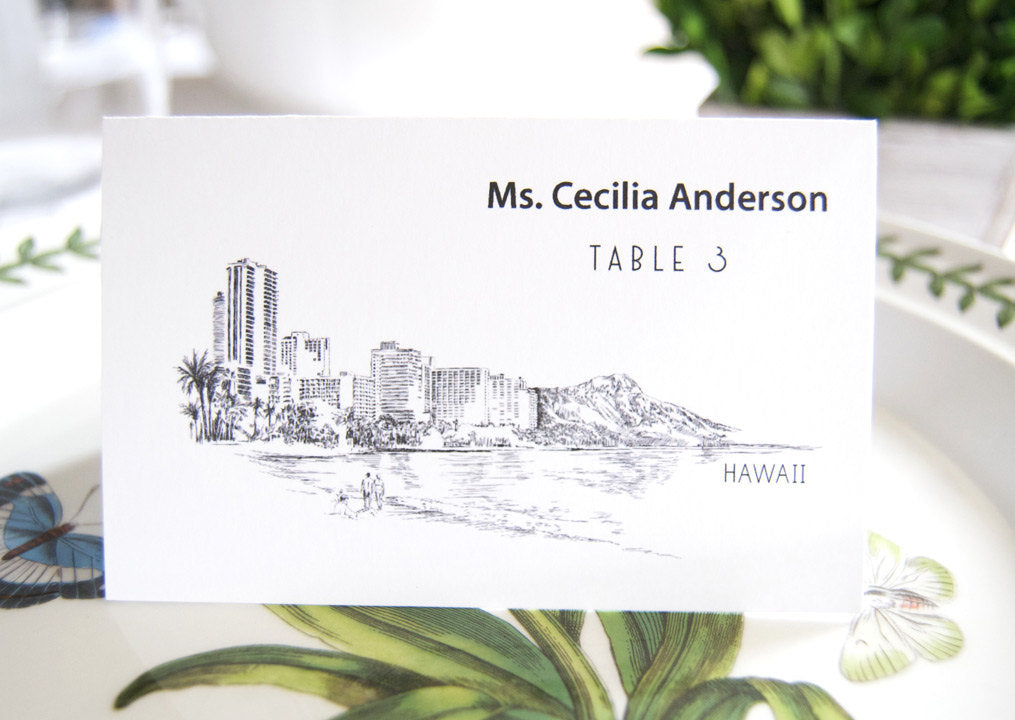 Hawaii Skyline Place Cards Personalized with Guests Names (Sold in sets of 25 Cards)