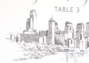 Philadelphia Skyline Hand Drawn Place Cards Personalized with Guests Names (Sold in sets of 25 Cards)