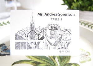 Empire State Building, New York Skyline Place Cards Personalized with Guests Names (Sold in sets of 25 Cards)