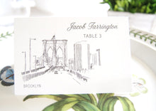 Load image into Gallery viewer, Brooklyn Bridge Skyline Place Cards Personalized with Guests Names (Sold in sets of 25 Cards)