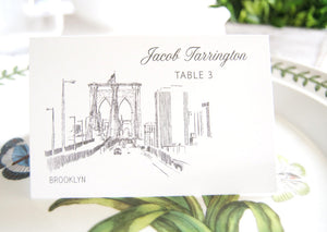 Brooklyn Bridge Skyline Place Cards Personalized with Guests Names (Sold in sets of 25 Cards)