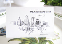 Load image into Gallery viewer, Kansas City Skyline Place Cards Personalized with Guests Names(Sold in sets of 25 Cards)