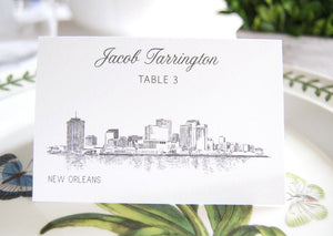 New Orleans Skyline Place Cards Personalized with Guests Names (Sold in sets of 25 Cards)