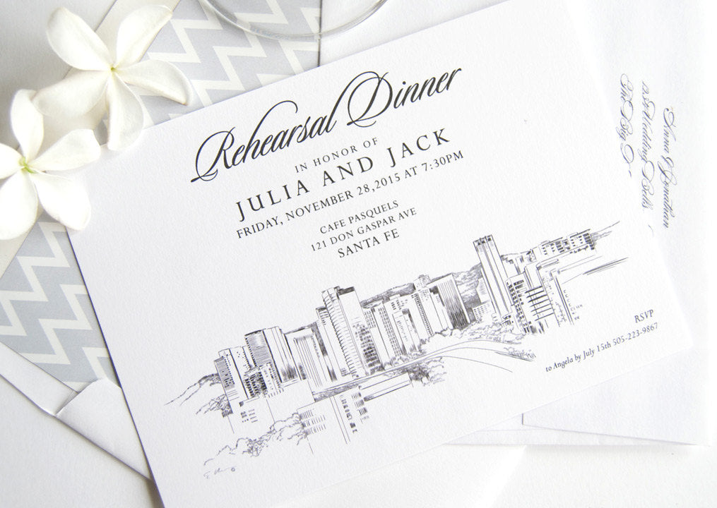 Santa Fe, New Mexico Skyline Rehearsal Dinner Invitations (set of 25 cards)