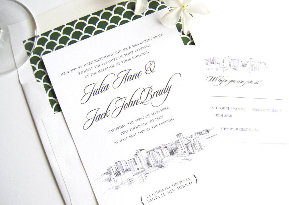 Santa Fe, New Mexico Skyline Wedding Invitations Package (Sold in Sets of 10 Invitations, RSVP Cards + Envelopes)