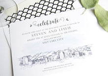 Load image into Gallery viewer, Salt Lake City Skyline LDS Rehearsal Dinner Invitations (set of 25 cards)