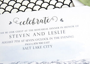 Salt Lake City Skyline LDS Rehearsal Dinner Invitations (set of 25 cards)
