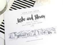 Load image into Gallery viewer, Salt Lake City Skyline LDS Save the Date Cards (set of 25 cards)