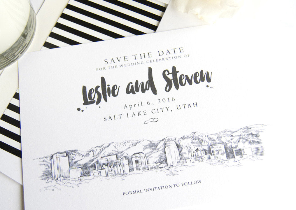 Salt Lake City Skyline LDS Save the Date Cards (set of 25 cards)