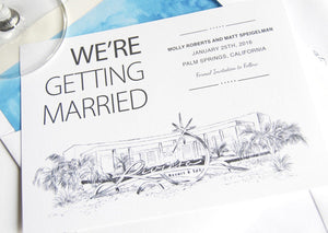 Riviera Palm Springs Destination Wedding Save the Date Cards (set of 25 cards)