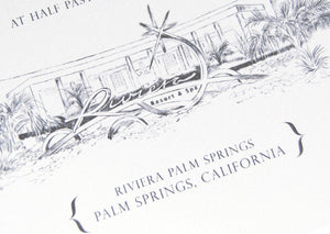 Riviera Palm Springs Destination Wedding Invitation Package (Sold in Sets of 10 Invitations, RSVP Cards + Envelopes)