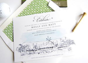 Riviera Hotel Palm Springs Destination Wedding Rehearsal Dinner Invitations (set of 25 cards)