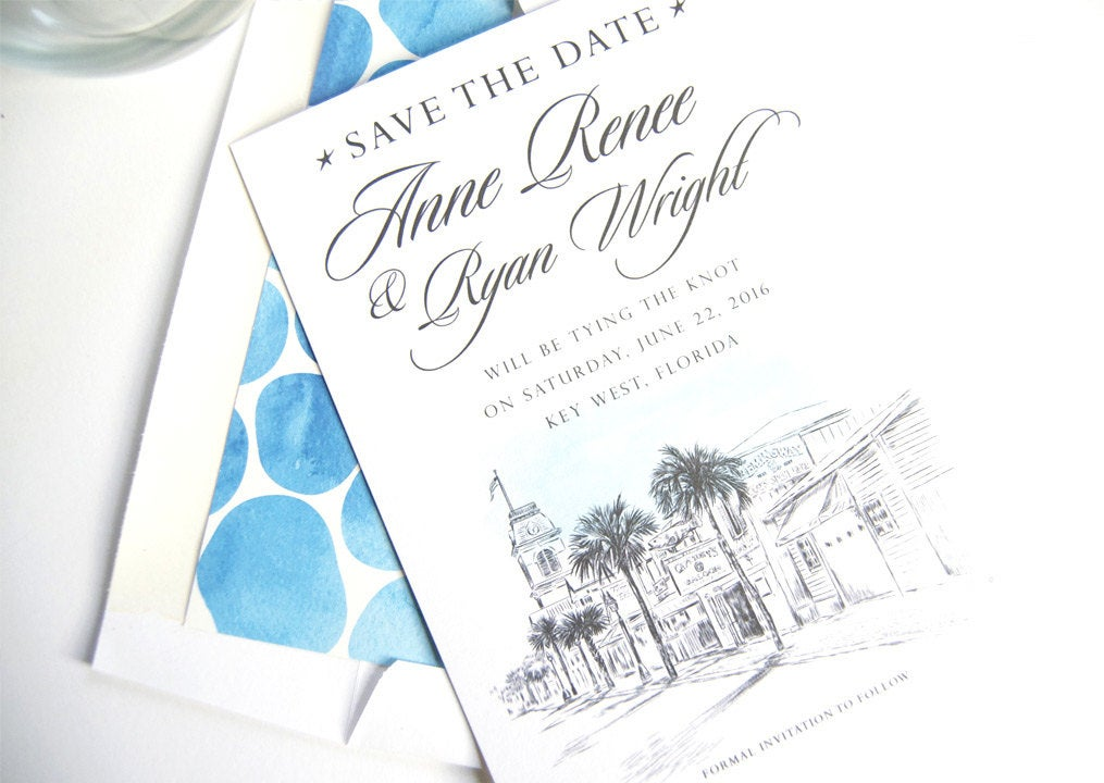 Key West Skyline Hand Drawn Save the Date Cards (set of 25 cards)