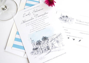 Key West Destination Wedding Invitation Package (Sold in Sets of 10 Invitations, RSVP Cards + Envelopes)