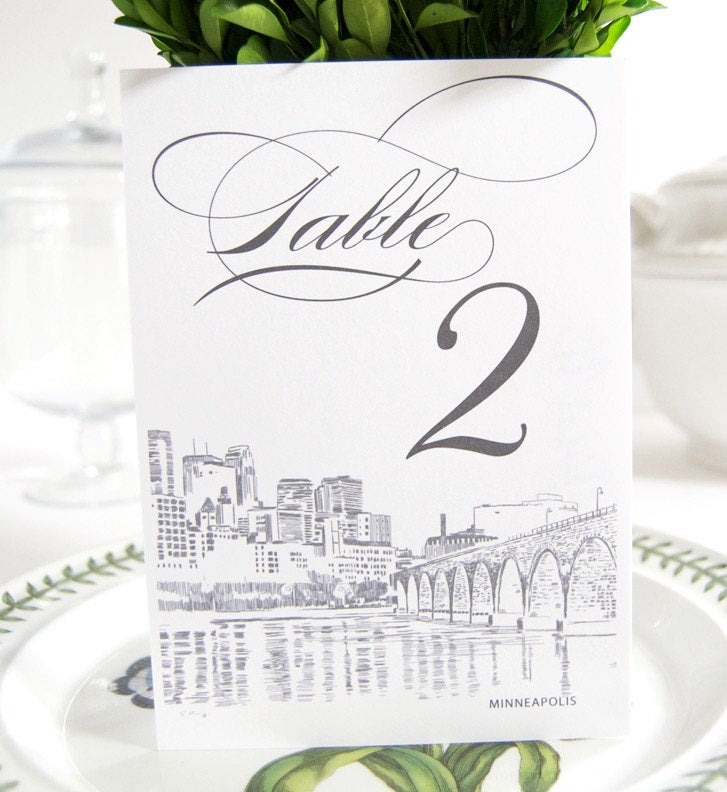 Minneapolis Skyline Table Numbers (1-10)