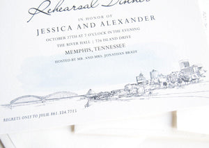 Memphis Skyline with the Pyramid Arena Rehearsal Dinner Invitations (set of 25 cards)