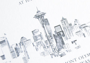 Seattle Skyline Hand Drawn Wedding Invitation, Seattle Wedding, Invite, Invitations (Sold in Sets of 10 Invitations, RSVP Cards + Envelopes)