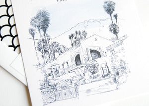 The Willows Palm Springs Inn Skyline Rehearsal Dinner Invitations (set of 25 cards)
