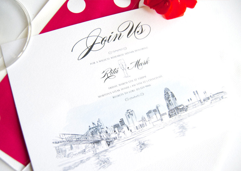 Cincinnati Skyline with Stadium and Bridge Rehearsal Dinner Invitations (set of 25 cards)
