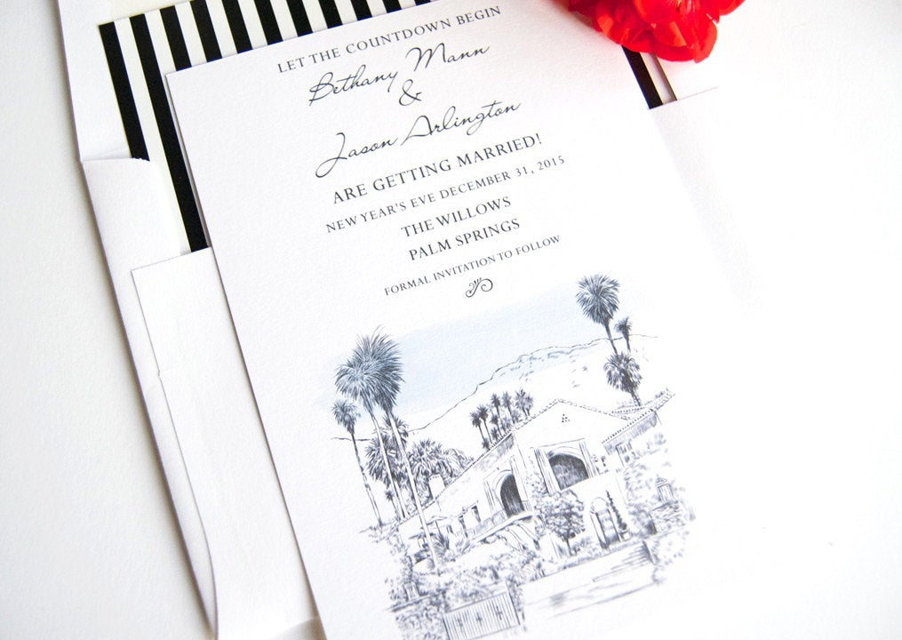 The Willows Palm Springs Skyline Wedding Invitations Package (Sold in Sets of 10 Invitations, RSVP Cards + Envelopes)