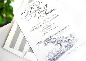 Martha's Vineyard Skyline Rehearsal Dinner Invitations (set of 25 cards)