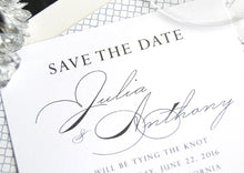 Load image into Gallery viewer, The Parker Palm Springs Destination Wedding Hand Drawn Skyline Save the Date Cards (set of 25 cards and white envelopes)