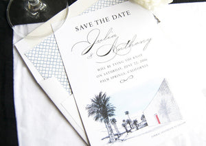 The Parker Palm Springs Destination Wedding Hand Drawn Skyline Save the Date Cards (set of 25 cards and white envelopes)
