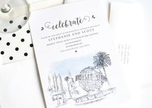 Load image into Gallery viewer, Universal Studios Skyline Hand Drawn Rehearsal Dinner Invitations (set of 25 cards)